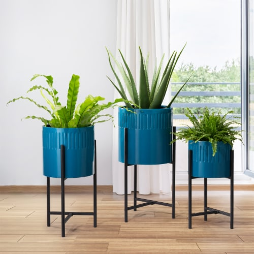 Glitzhome Modern Glossy Metal Plant Stands - Blue Perspective: right
