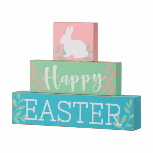 Glitzhome Happy Easter Wooden Block Table Decor Perspective: right