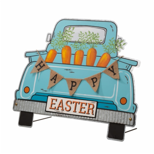 Glitzhome Easter Metal Truck Decor Perspective: right
