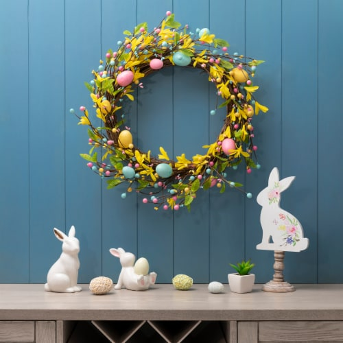 Glitzhome Bright Easter Egg Wreath Perspective: right