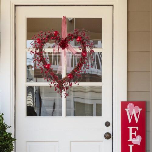 Glitzhome Valentine's Day Berry Heart Wreath Perspective: right