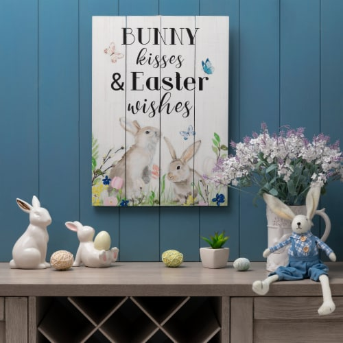 Glitzhome Wooden Easter Bunny Wall Sign Perspective: right