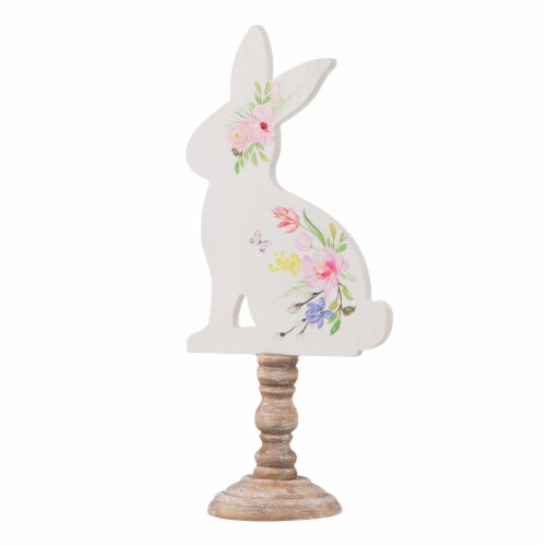 Glitzhome Easter Wooden Bunny with Candle Holder Pedestal Table Decor Perspective: right
