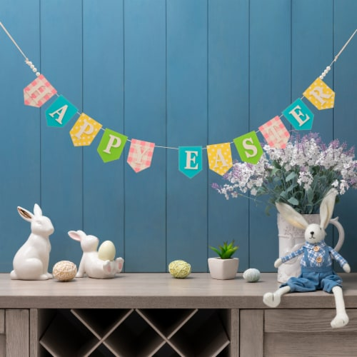 Glitzhome Happy Easter Wooden Garland Perspective: right