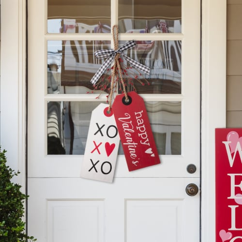 Glitzhome Valentine's Day Door Hanging Decor - Red/White Perspective: right