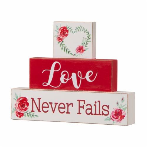 Glitzhome Love Never Fails Wooden Blocks Table Decor Perspective: right