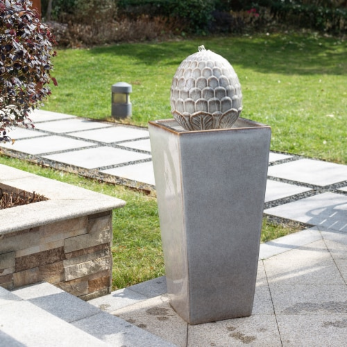 Glitzhome Ceramic Sphere Pedastal Outdoor Fountain - Ivory Perspective: right