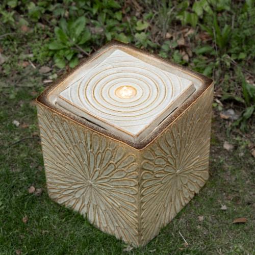 Glitzhome Ceramic Square Pot Outdoor Fountain Perspective: right