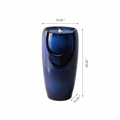 Glitzhome Outdoor Ceramic Pot Fountain - Blue Perspective: right