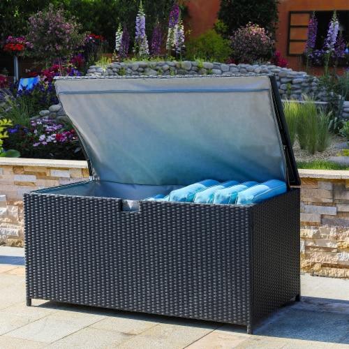 Glitzhome Outdoor Patio Garden Wicker Storage Deck Box - Black Perspective: right