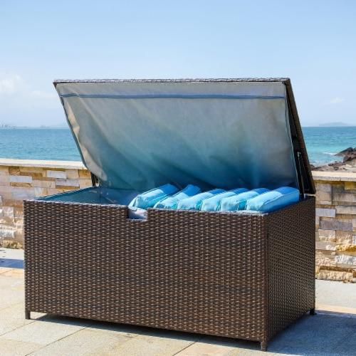 Glitzhome Outdoor Patio Garden Wicker Storage Deck Box - Brown Perspective: right