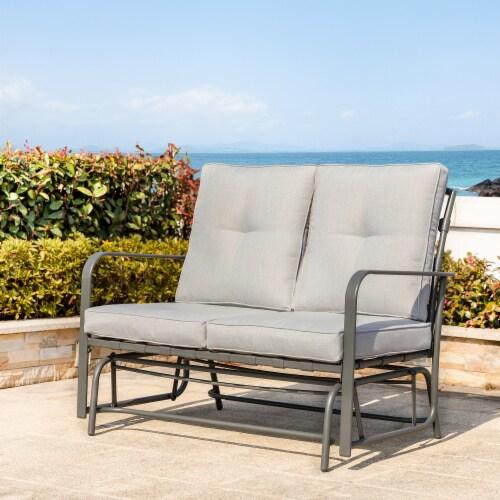 Glitzhome Outdoor Patio Garden Loveseat Glider Chair - Gray Perspective: right
