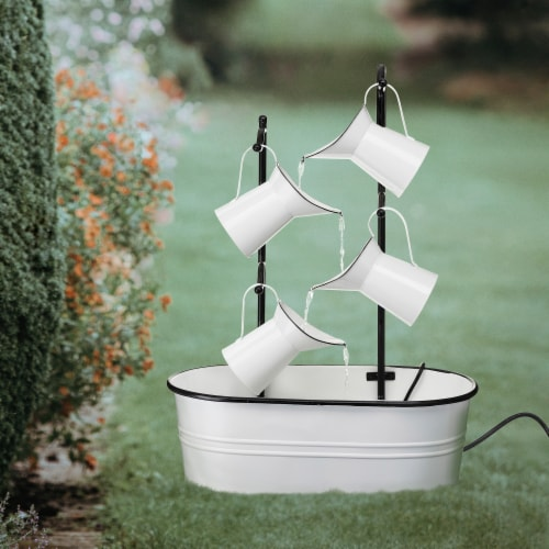 Glitzhome 4-Tiered Enamel Metal Pitchers Fountain - White Perspective: right