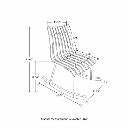 Glitzhome Contoured Natural Bamboo Rocking Chair Perspective: right