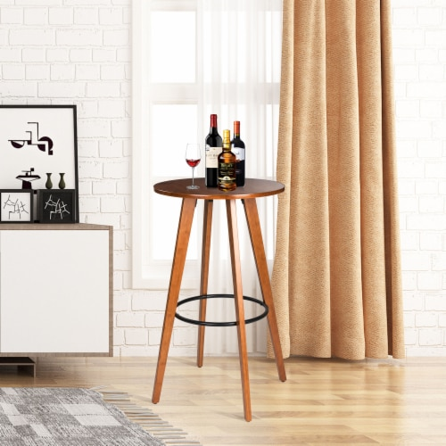 Glitzhome Midcentury Modern Round Natural Bamboo Bar Table Perspective: right