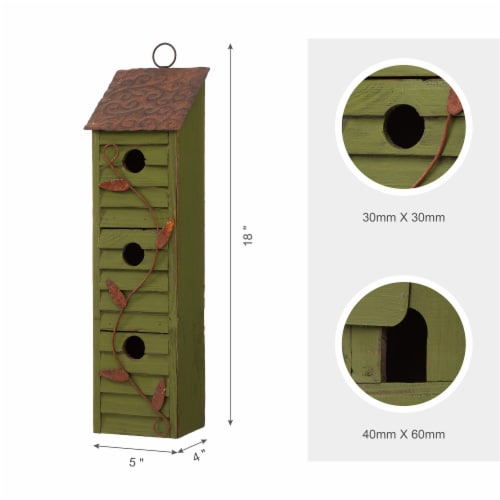 Glitzhome Window-Blinds Distressed Solid Wood Birdhouse - Green Perspective: right