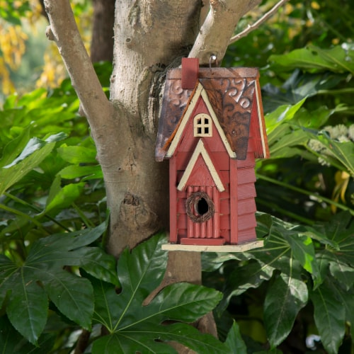 Glitzhome Hanging Distressed Wooden Cottage Birdhouse - Red Perspective: right