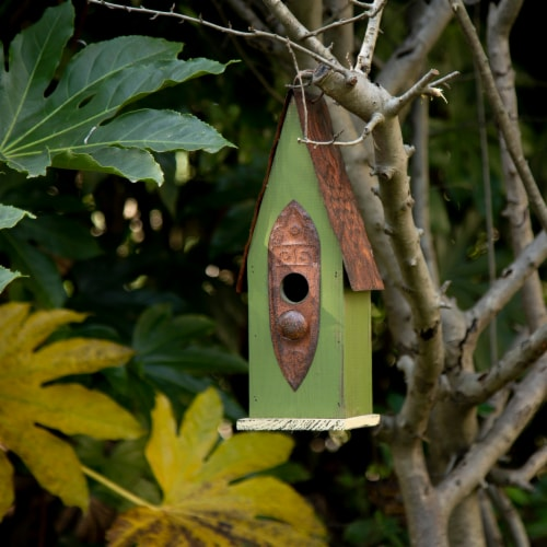 Glitzhome Hanging Distressed Wooden Garden Birdhouse - Green Perspective: right