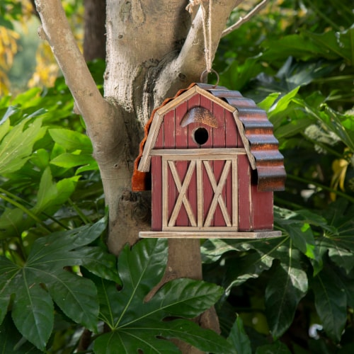 Glitzhome Hanging Wood Red Barn Outdoor Bird House Perspective: right