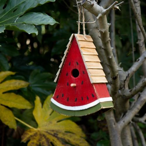 Glitzhome Hanging Wooden Watermelon Decorative Garden Birdhouse Perspective: right