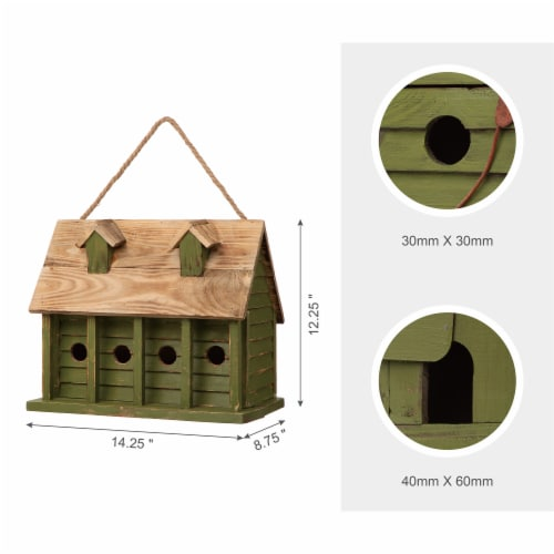 Glitzhome Hanging Wooden Distressed Garden Birdhouse - Green Perspective: right