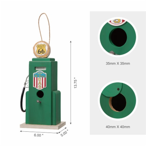 Glitzhome Hanging Wood Gas Pump Birdhouse - Green Perspective: right
