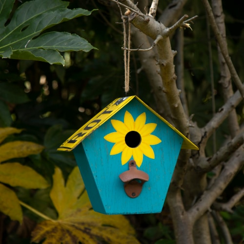Glitzhome Wooden and Metal License Plate Birdhouse - Blue/Yellow Perspective: right