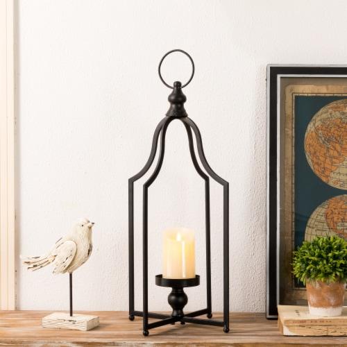Glitzhome Modern Farmhouse Metal Decorative Lantern - Black Perspective: right