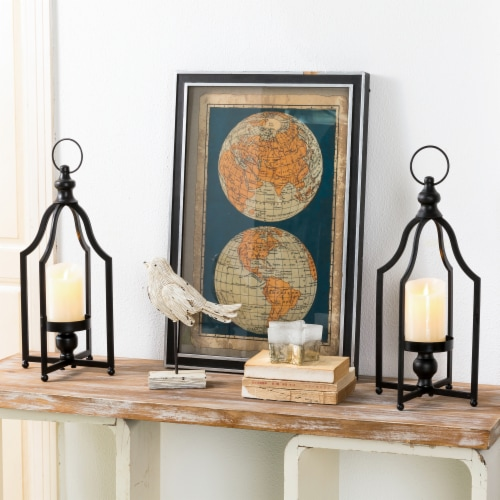 Glitzhome Modern Farmhouse Metal Decorative Lantern - 2 Pack - Black Perspective: right