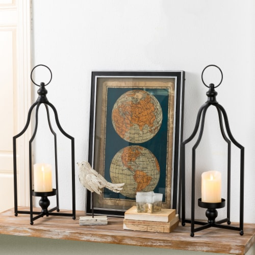 Glitzhome Modern Farmhouse Metal Decorative Lantern - 2 Pack - Black Perspective: right