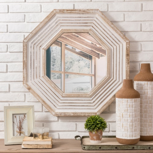 Glitzhome Vintage Modern Octagonal Wooden Wall Mirror Perspective: right