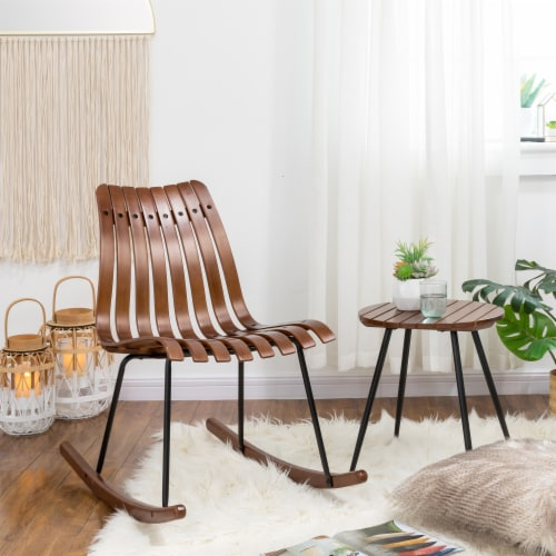 Glitzhome Accent Table and Bamboo Rocking Chair Set Perspective: right
