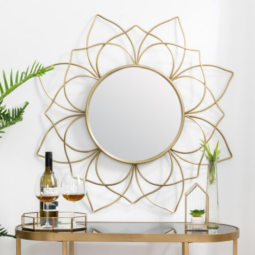 Glitzhome Oversized Modern Glam Lotus Wall Mirror - Gold Perspective: right