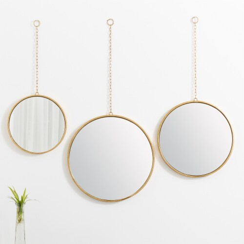 Glitzhome Regency Modern Gold Metal Chain Hanging Mirrors Perspective: right