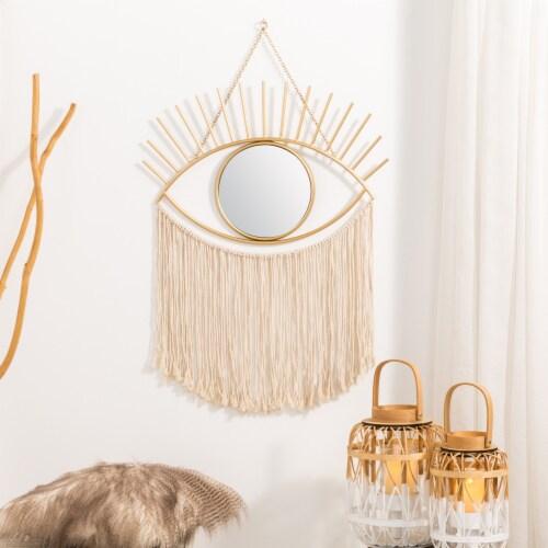 Glitzhome Regency Modern Boho Metal Eye Mirror with Tassels Perspective: right