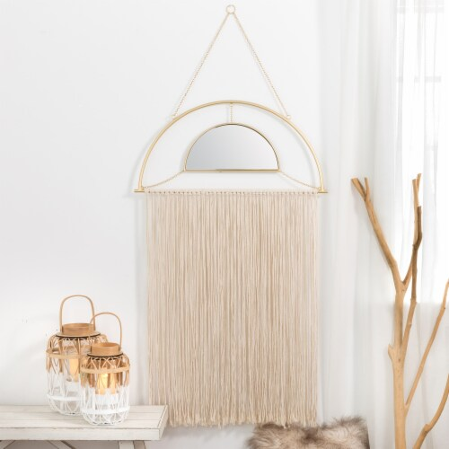 Glitzhome Regency Modern Boho Mirror with Tassels Perspective: right