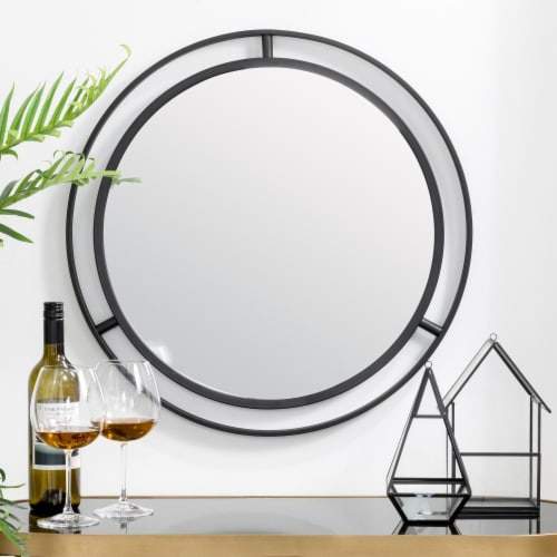 Glitzhome Deluxe Metal Round Wall Mirror - Black Perspective: right