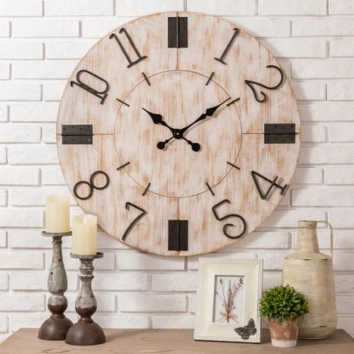 Glitzhome Oversized Farmhouse Round Wall Clock - White Perspective: right