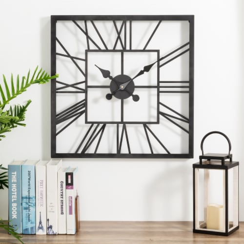 Glitzhome Modern Industrial Metal Square Wall Clock - Black Perspective: right