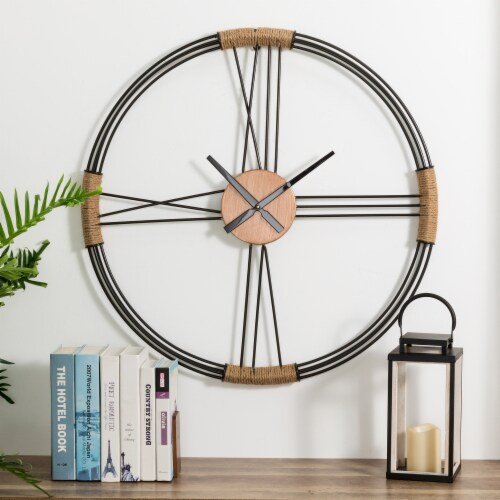 Glitzhome Oversized Modern Farmhouse Round Wall Clock Perspective: right