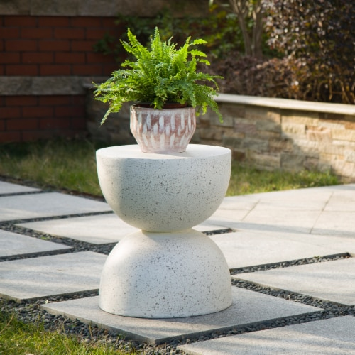 Glitzhome Multi-Functional Fauz Terrazoo Garden Stool and Plant Stand Perspective: right