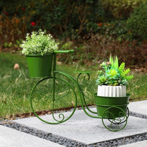 Glitzhome Metal Bicycle Pot Standd - Green Perspective: right
