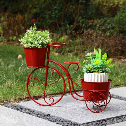Glitzhome Metal Bicycle with Pots Plant Stand - Red Perspective: right