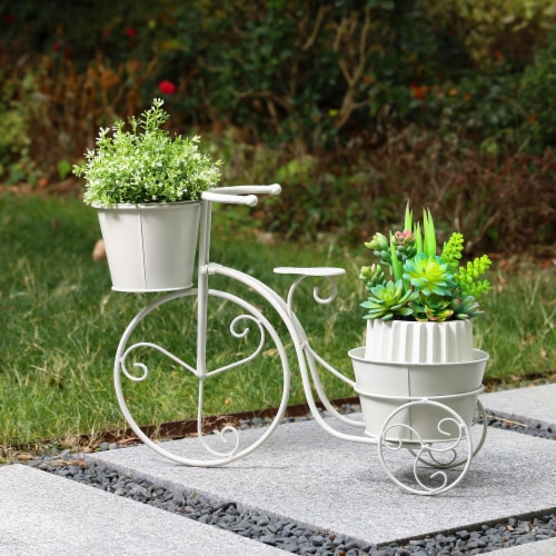 Glitzhome Metal Bicycle Plant Stand - White Perspective: right