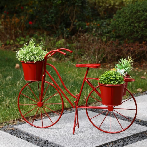 Glitzhome Oversized Metal Bicycle with Pots Plant Stand - Red Perspective: right