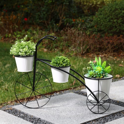 Glitzhome Metal Enamel Bicycle Planter Stand - Black/White Perspective: right
