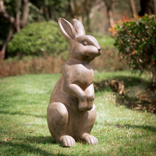Glitzhome Light Weight Standing Rabbit Outdoor Garden Statue Perspective: right