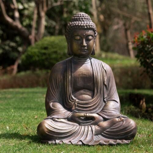 Glitzhome Meditating Buddha Decorative Garden Statue Perspective: right