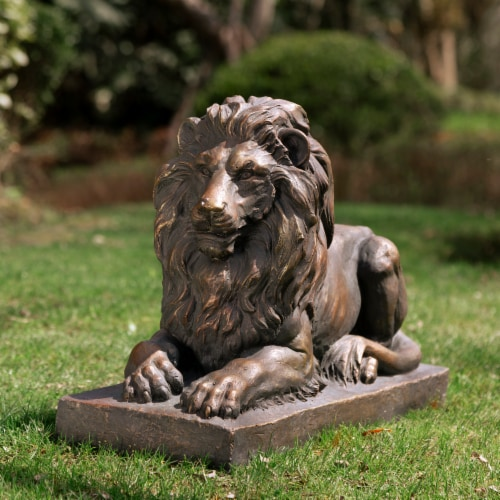 Glitzhome Lying Guardian Lion Garden Statue Perspective: right