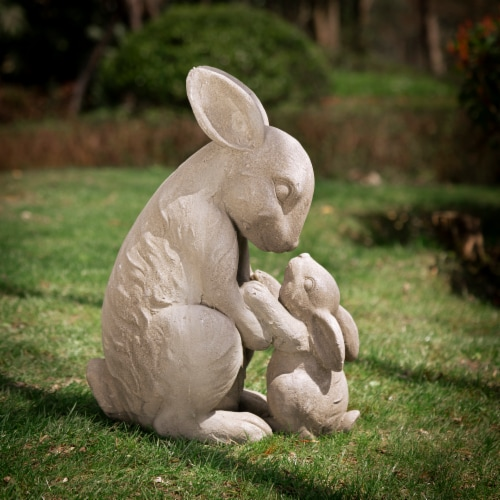 Glitzhome Sweet Sitting Mother and Baby Rabbits Statue Perspective: right